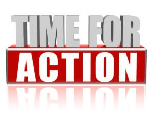 time for action text - 3d red and white letters and block business concept