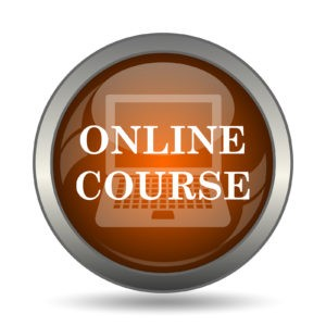 Online course icon. Internet button on white background.